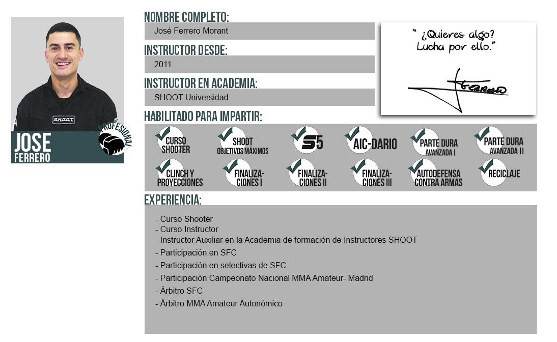 Ficha Instructor: Jose Ferrero