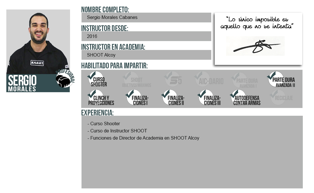 Ficha Instructor: Sergio Morales